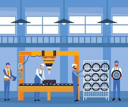 Workers on factory car tires and assembling interior vector illustration graphic design 向量圖像