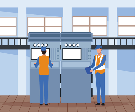 Factory workers operating machinery scenery vector illustration graphic design