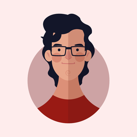 man face wearing glasses color background icon cartoon vector illustration graphic design