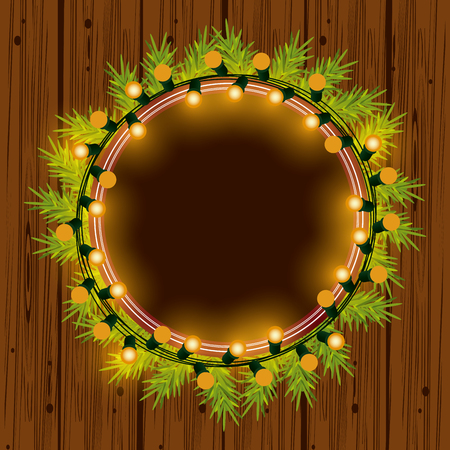 Christmas wreath with lights for decoration vector illustration graphic design