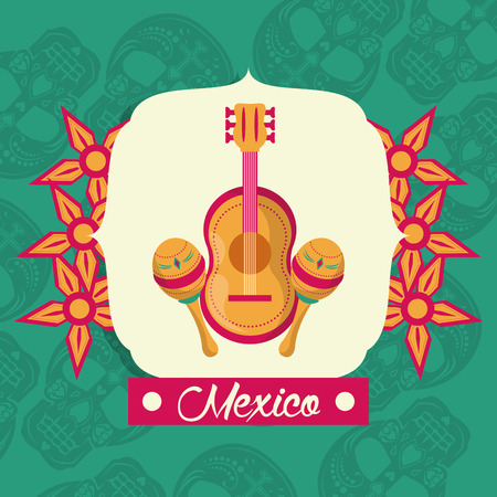 mexican mariachis instruments guitar and maracas vector illustration graphic design