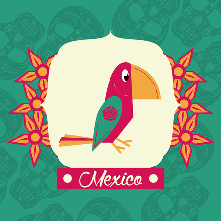 mexican huipil bird with flowers and mexico vector illustration graphic design