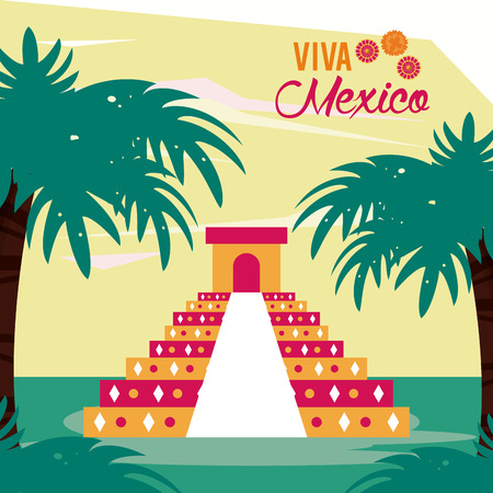 kukulkan ancient temple with palm and viva mexico vector illustration graphic design