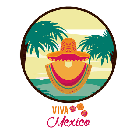 typical Mexican costume with ruana and hat vector illustration graphic design