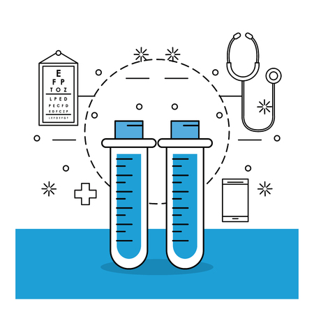 medical stuff and elements with test tube and endoscope vector illustration graphic design Vector Illustration