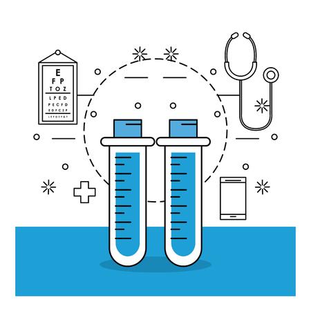 Trucs et éléments médicaux avec tube à essai et endoscope vector illustration graphic design Vecteurs