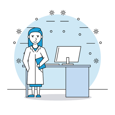 medical research woman in consulting room vector illustration graphic design Illustration