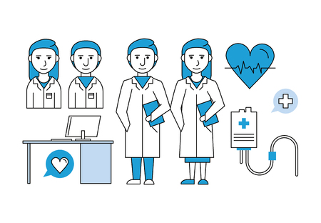 medical research teamwork with medical elements vector illustration graphic design