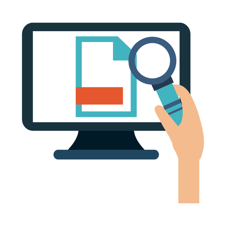 Hand with magnifying glass checking computer vector illustration graphic design