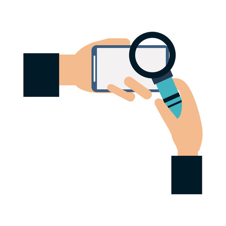 Hands with smartphone and magnifying glass vector illustration graphic design