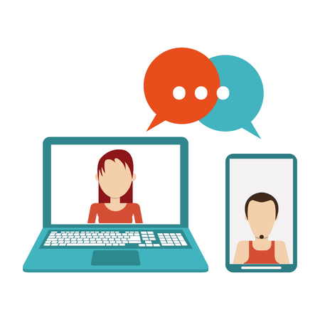 Friends chatting on laptop and smartphone vector illustration graphic design Standard-Bild - 127693073