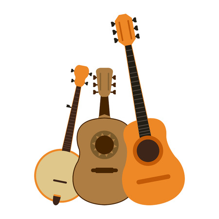 Set of strings music instruments vector illustration graphic design