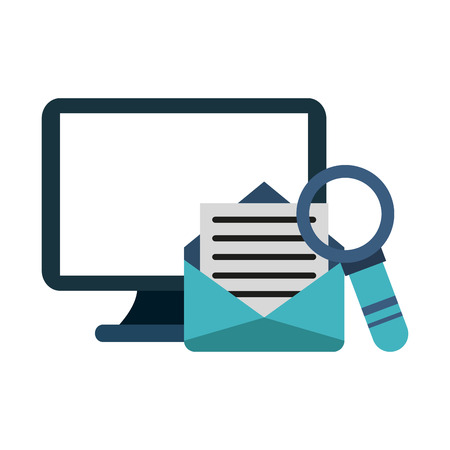 Computer and email with magnifying glass vector illustration graphic design