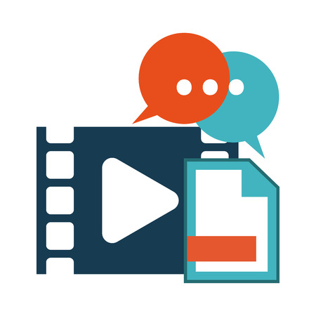Video player and document with chat bubbles symbols vector illustration graphic design
