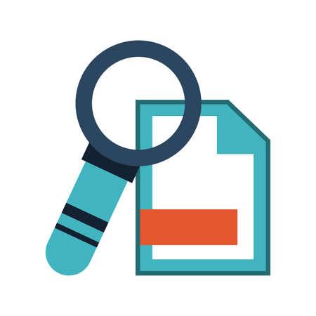 Magnifying glass on sheet bent corner vector illustration graphic design