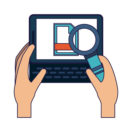 Hands with tablet checking document vector illustration graphic design