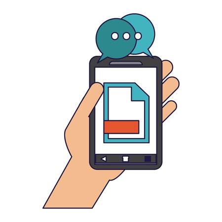 Hand with document on smartphone vector illustration graphic design Ilustração