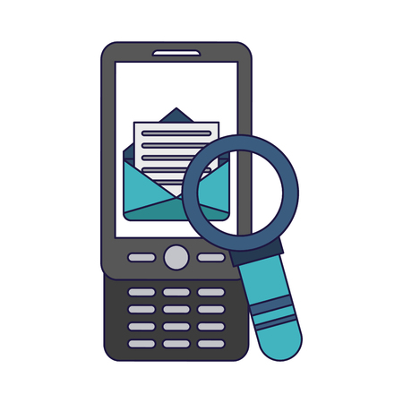 Smartphone and email with magnifying glass vector illustration graphic design  イラスト・ベクター素材