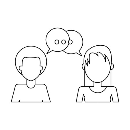 People talking with chat bubbles avatar vector illustration graphic design