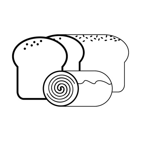 Bread and cinnamon roll vector illustration graphic design