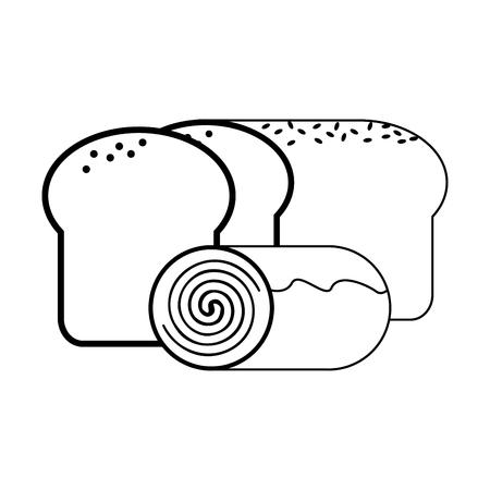 Bread and cinnamon roll vector illustration graphic design