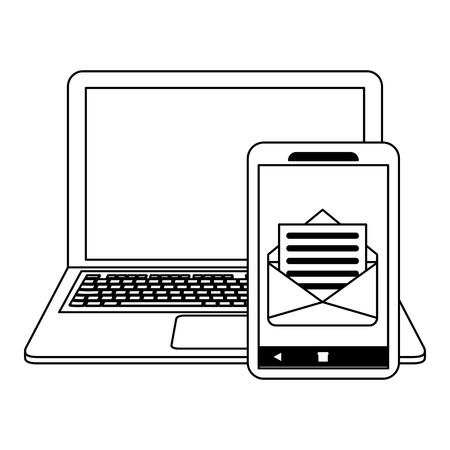 Laptop and smartphone email vector illustration graphic design