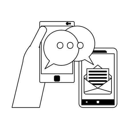 Hand using smartphone for chat and email vector illustration graphic design