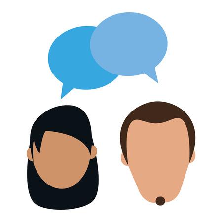 Femme et homme couple parler avatar avec bulle de dialogue vector illustration graphic design