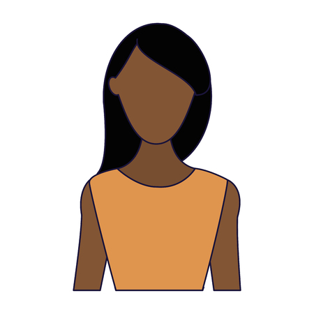 Woman with fashion clothes profile vector illustration graphic design