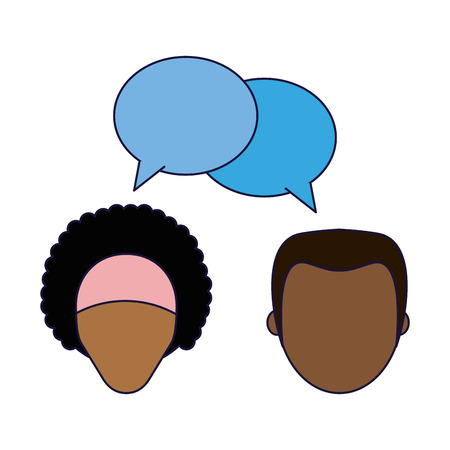 Woman and man couple talking avatar with speech bubble vector illustration graphic design