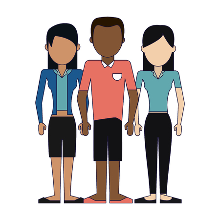 Young women and man friends avatar vector illustration graphic design Banque d'images