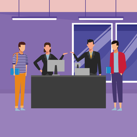 Customers and cashiers on cash register inside mall building vector illustration graphic design