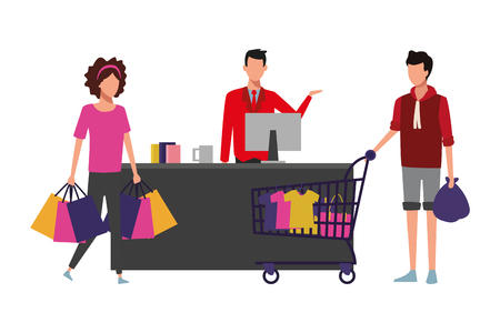 Couple with shopping cart and basket at cash register vector illustration graphic design