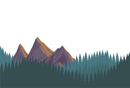 Beautiful landscape scenery with mountains isolated vector illustration graphic design
