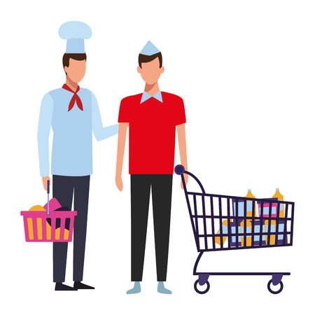 Chef and assistant with shopping basket and cart vector illustration graphic design