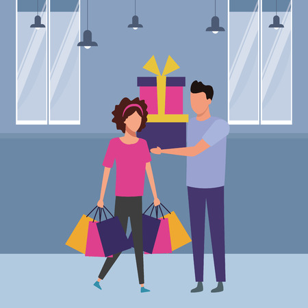 Man holding giftboxes and woman with shopping bags inside supermarket building scenery vector illustration graphic design