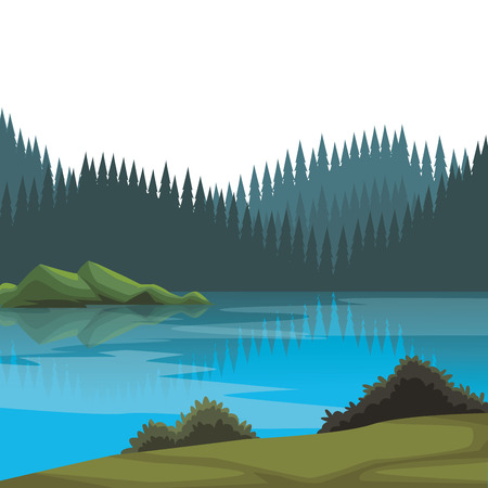 Beautiful landscape scenery with river and mountains vector illustration graphic design