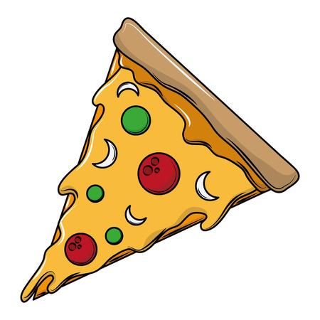 Pezzo di pizza cibo italiano illustrazione vettoriale graphic design