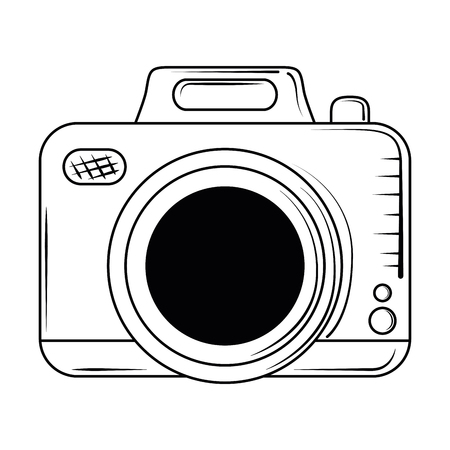 Vintage photographic camera cartoon black and white vector illustration graphic design