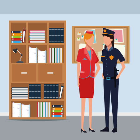 Stewardess and police officer women inside office building vector illustration graphic design