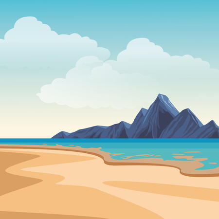 Beach and island with mountains scenery vector illustration graphic design