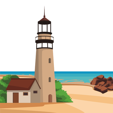 Beach and island with lighthouse scenery vector illustration graphic design 矢量图像