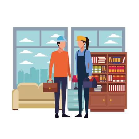 Architect and construction worker with toolbox and briefcase inside office with furniture vector illustration graphic design