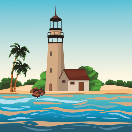Beach and island with lighthouse and palms scenery vector illustration graphic design Illusztráció