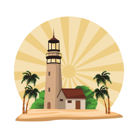 Beach and island with lighthouse and palms scenery striped round icon vector illustration graphic design