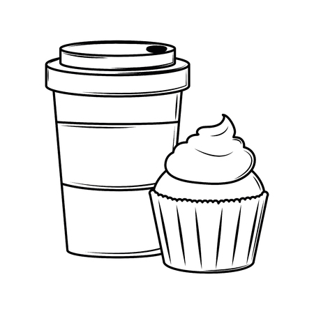 Coffee cup and cupcake cartoon food vector illustration graphic design
