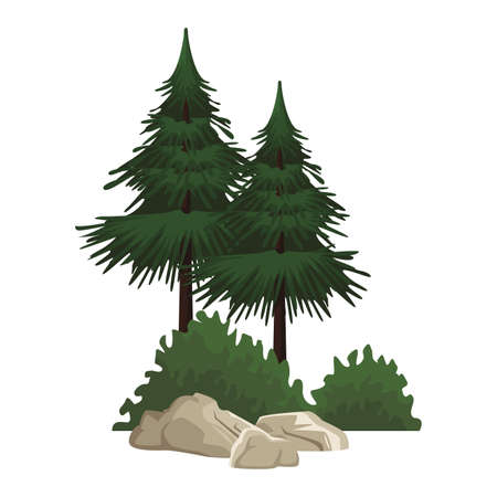 Trees with bushes and rocks nature landscape cartoon vector illustration graphic design Vettoriali