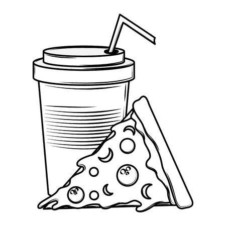 Soda cup and pizza cartoon vector illustration graphic design