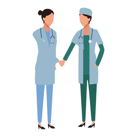 women doctor shaking hands avatar vector illustration graphic design  イラスト・ベクター素材