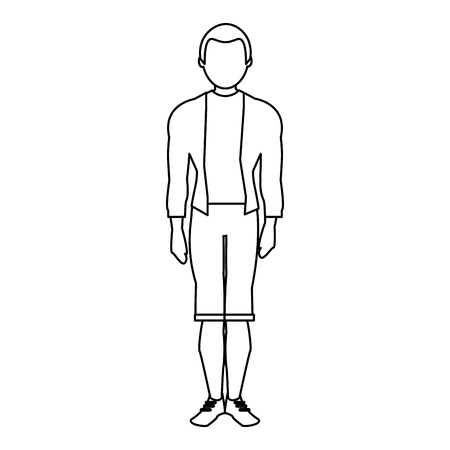 Young man model with fashion clothes avatar vector illustration graphic design